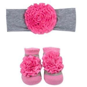 New Baby girl headband & sock set